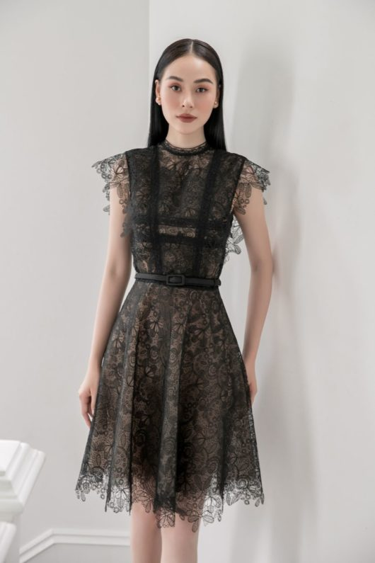 Black Charmuse Lace Dress 1
