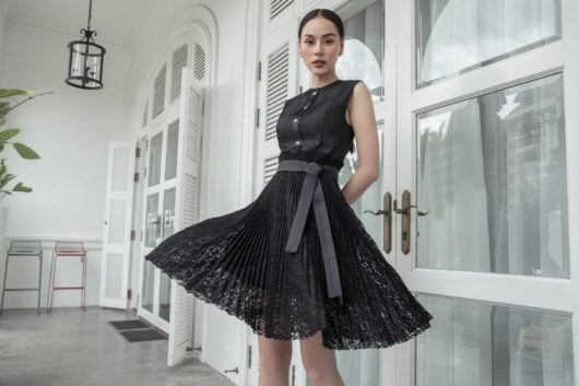 Black Pleated Lace Dress 5