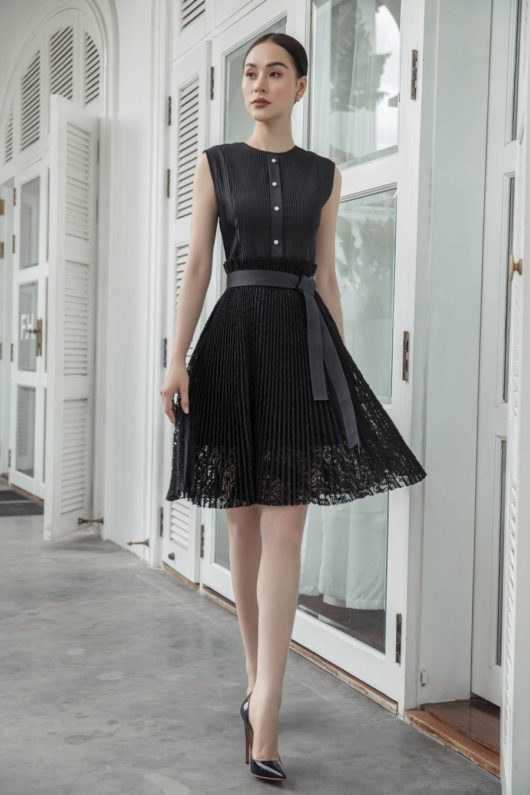Black Pleated Lace Dress 1
