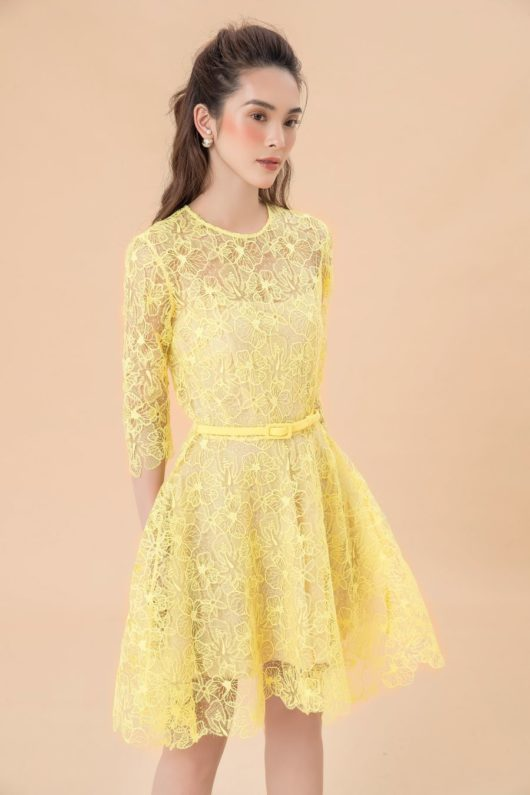 Yellow Charmuse Lace Dress 4