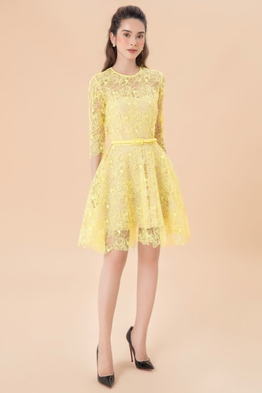 Yellow Charmuse Lace Dress 1